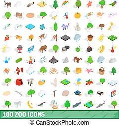 100 zoo icons set, isometric 3d style - 100 zoo icons set in...