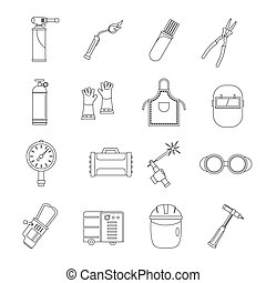Welding icons set, outline style - Welding icons set....