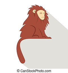 Monkey with long brown hair i icon, flat style - Monkey with...