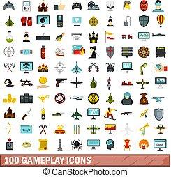 100 gameplay icons set, flat style