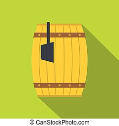 Wooden barrel with ladle icon, flat style
