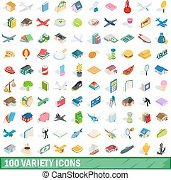 100 variety icons set, isometric 3d style - 100 variety...