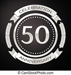 Fifty years anniversary celebration with silver ring and ribbon on black background. Vector illustration
