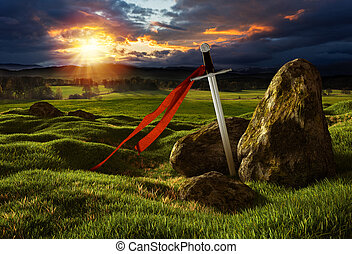 Sword in the dramatic sunny landscape. - Sword on the meadow...