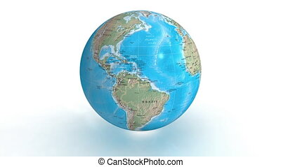 Earth physical - 3D rotating earth on white background