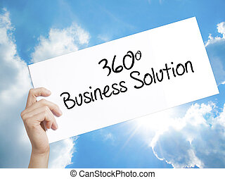 360 Business Solution Sign on white paper. Man Hand Holding Paper with text. Isolated on sky background