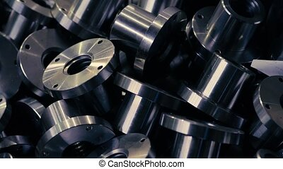 Finished metal parts - Close up of finished metal parts in...