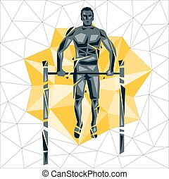 Geometric Crossfit concept. Bar Muscle up. Vector silhouette...