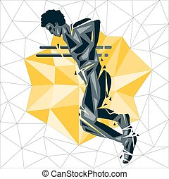 Geometric Crossfit concept. Dip. Vector silhouette of man...