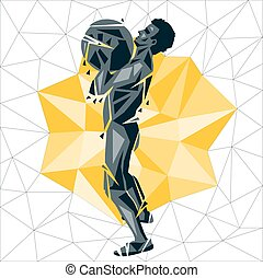 Geometric Crossfit concept. Ball Slams. Vector silhouette of...