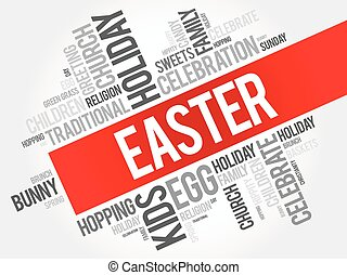 Easter word cloud collage