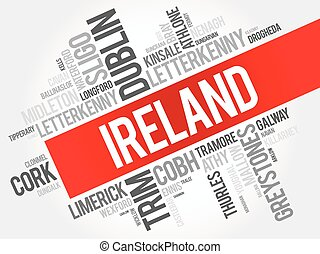 List of cities in Ireland word cloud collage, business and...