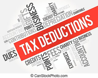 Tax Deductions word cloud collage, business concept...
