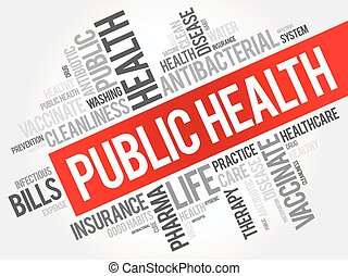Public health word cloud collage, healthcare concept...