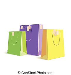 Set of paper, colored shopping bags, resizable vector...