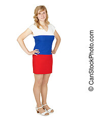 Woman in a dress the color Russian flag