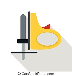 Yellow cordless reciprocating saw icon, flat style - Yellow...