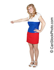 Woman in clothing color Russian flag kicks gesture isolated...