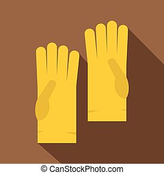 Yellow rubber gloves icon, flat style - Yellow rubber gloves...