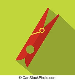 Red clothes pin icon, flat style - Red clothes pin icon....