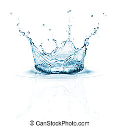 water splash on white background with ripple and reflection