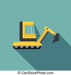 Yellow mini excavator icon, flat style - Yellow mini...
