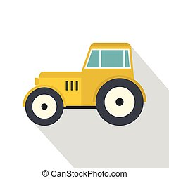 Yellow tractor icon, flat style