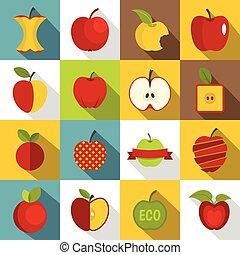 Apple icons set design logo, flat style - Apple icons set...
