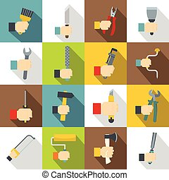 Hand tool icons set building, flat style - Hand tool icons...