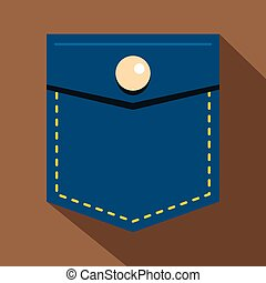 Blue jeans pocket with button icon, flat style