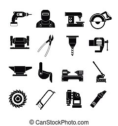 Metal working icons set, simple style - Metal working icons...