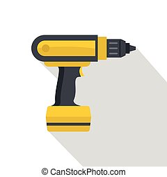 Yellow electric screwdriver drill icon, flat style - Yellow...