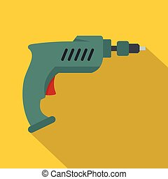 Drill icon, flat style - Drill icon. Flat illustration of...