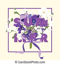 Summer floral background with beautiful lavender flowers on...
