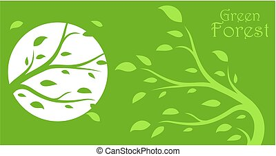 Logo green wood. - The stylized background with the green...