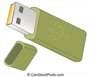 Flash drive on white background