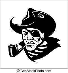 Angry pirate with pipe portrait. pirate illustration....
