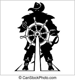 Pirate at the helm - vector illustration. Isolated on white