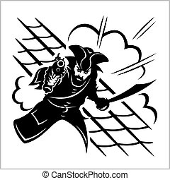 Attack of pirate - vector illustration. Isolated on white.