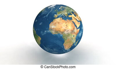 Earth real - 3D rotating earth on white background