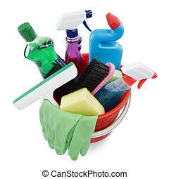 cleaning products in bucket - variety of cleaning products...
