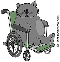 Three legged cat in a wheelchair - Illustration of a three...