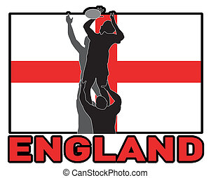 Rugby player lineout England flag