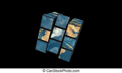 Earth rubik - 3D morphing and rotating earth