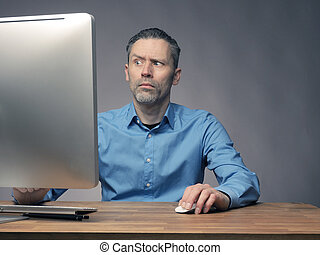 Businessman working with a computer