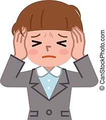 Young woman with a headache - Vector illustration. Original...