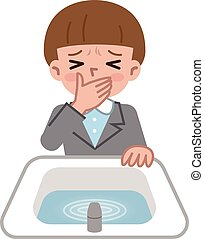 Woman spitting in the bathroom - Vector illustration....