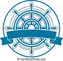 Ship steering wheel emblem with banner