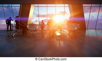 Business team in conference room, rear view sunset, zoom in