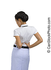 woman with back pain - woman got back pain, isolated on...